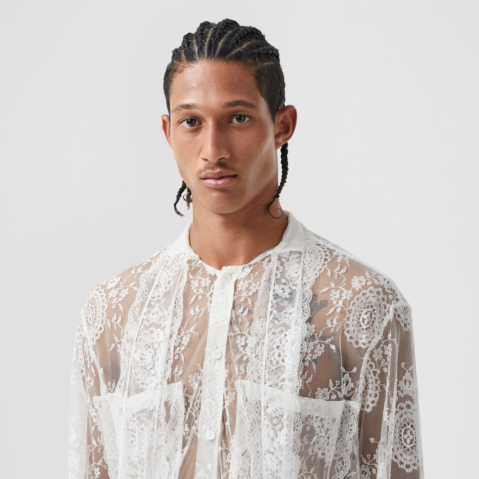 Chantilly Lace Oversized Tie-neck Shirt in Optic White | Burberry Australia - gallery image 6