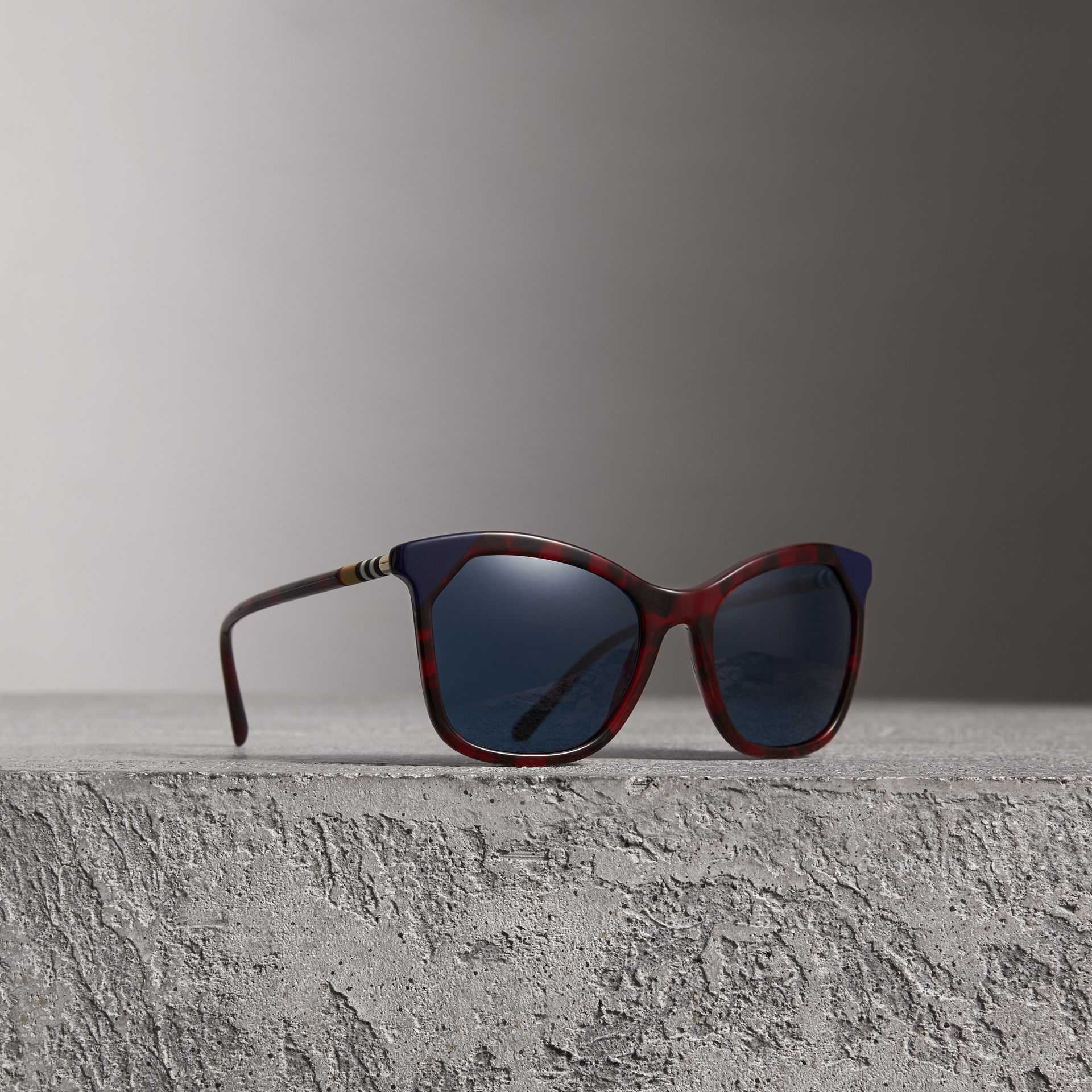 Tortoiseshell Square Frame Sunglasses in Red - Women | Burberry - gallery image 0
