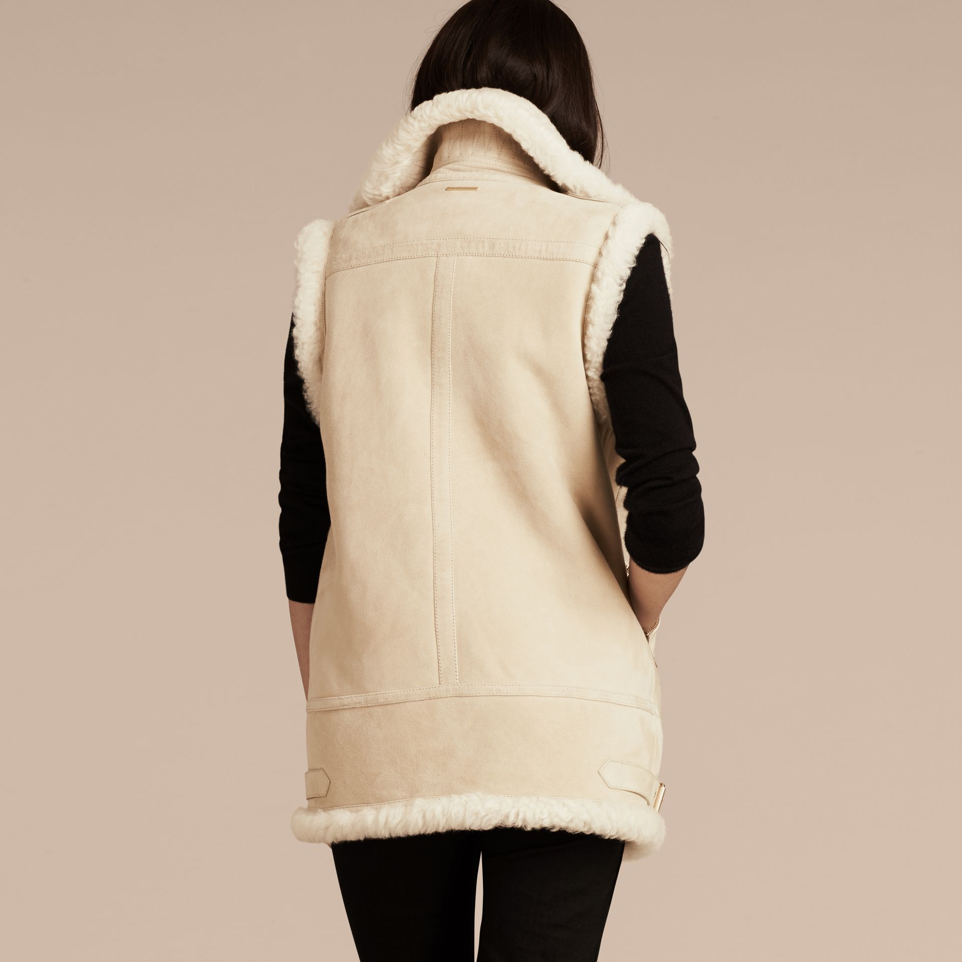 Natural white Shearling Biker Gilet Natural White - gallery image 3