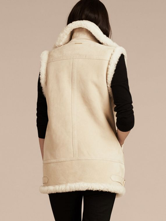 Natural white Shearling Biker Gilet Natural White - cell image 2