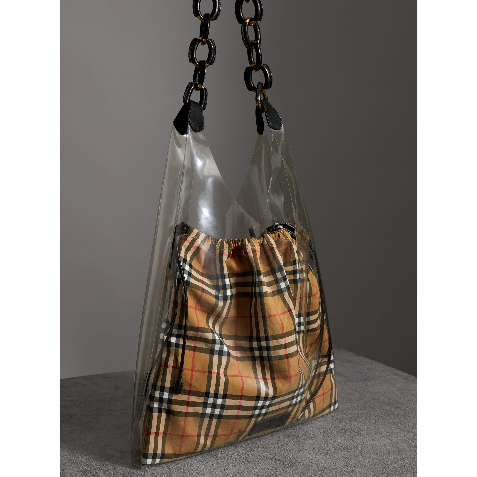 Medium Plastic Shopper with Vintage Check Pouch in Antique Yellow/black - Women | Burberry Australia - gallery image 4