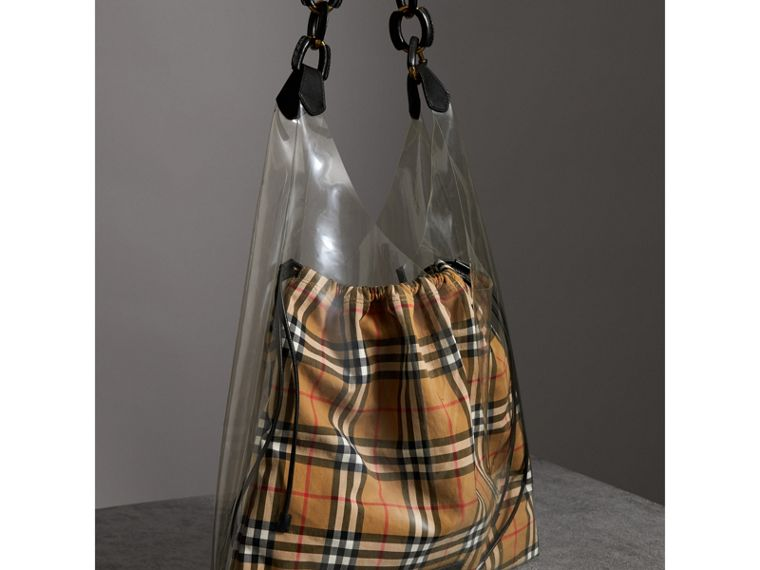 Medium Plastic Shopper with Vintage Check Pouch in Antique Yellow/black - Women | Burberry - cell image 4