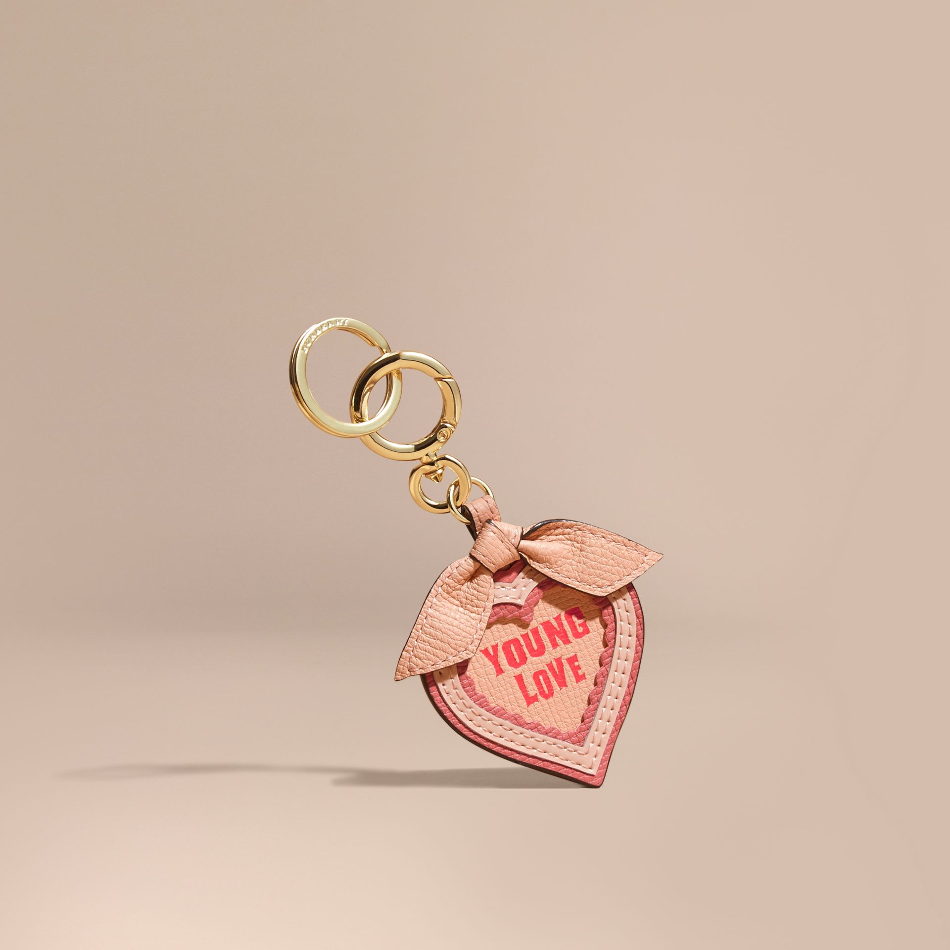 Young Love Motif Leather Key Charm - gallery image 1