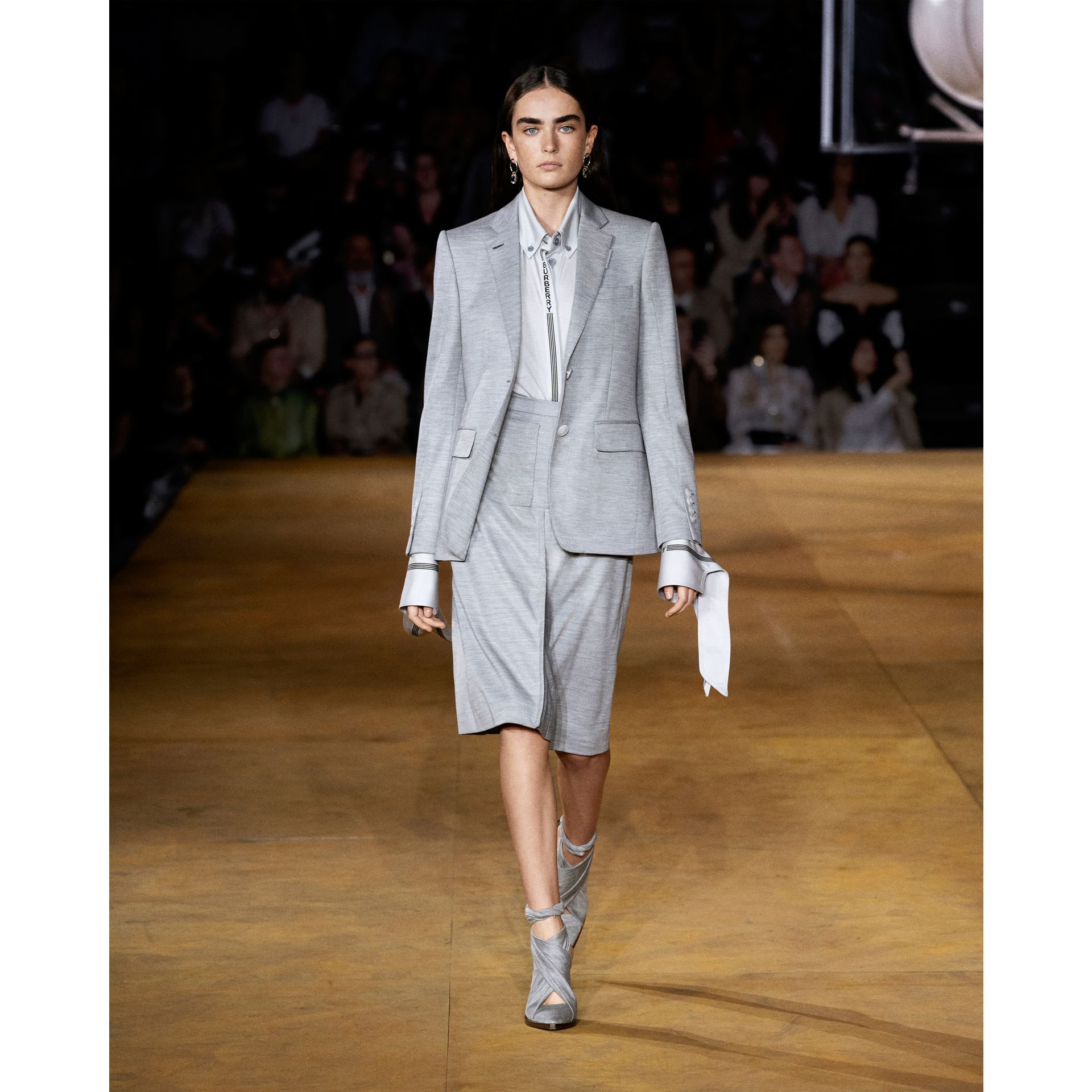 Technical Wool Jersey Blazer in Grey Taupe Melange - Women | Burberry - gallery image 6