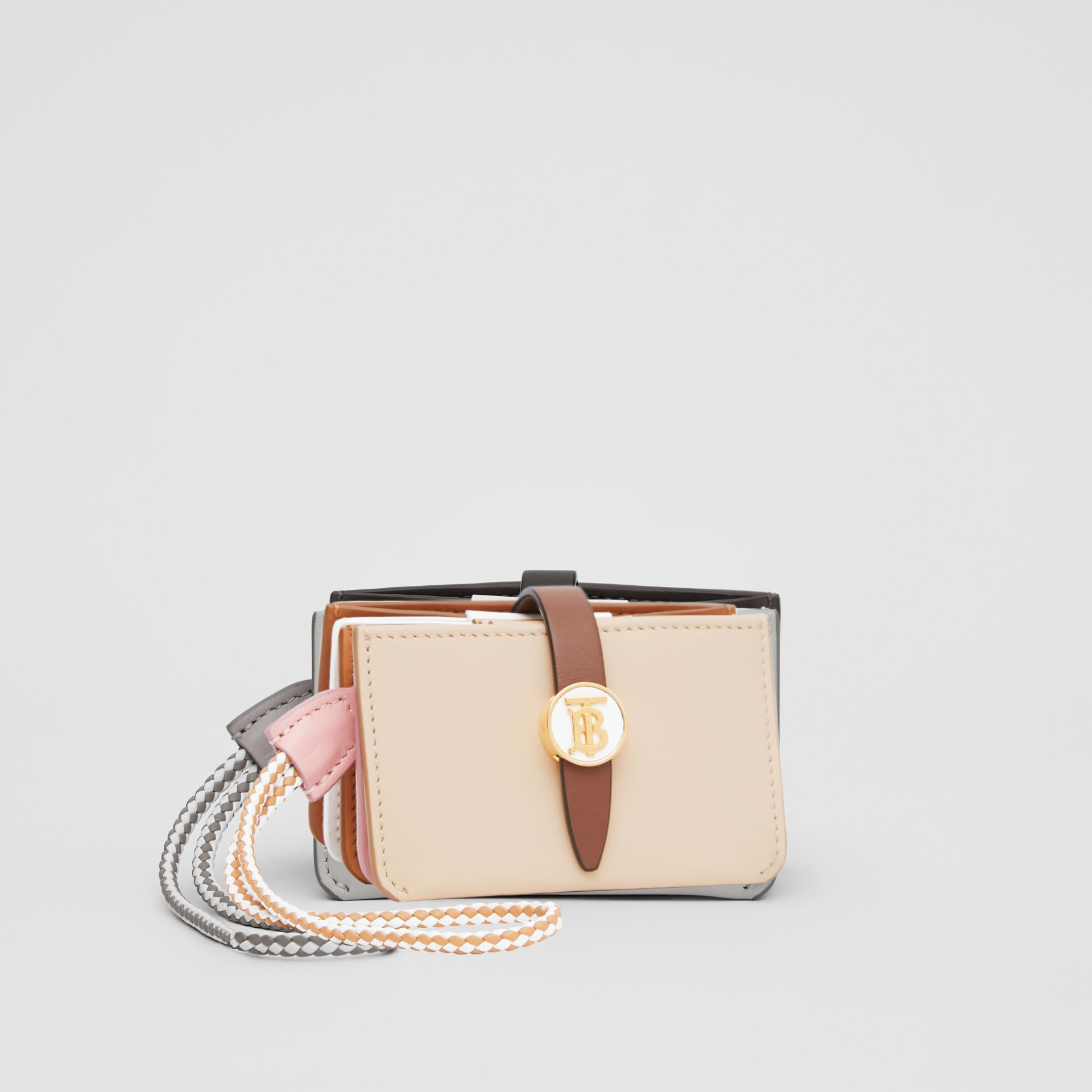 Monogram Motif Colour Block Leather Card Case in Tan/pale Copper/peony Pink - Women | Burberry - gallery image 4