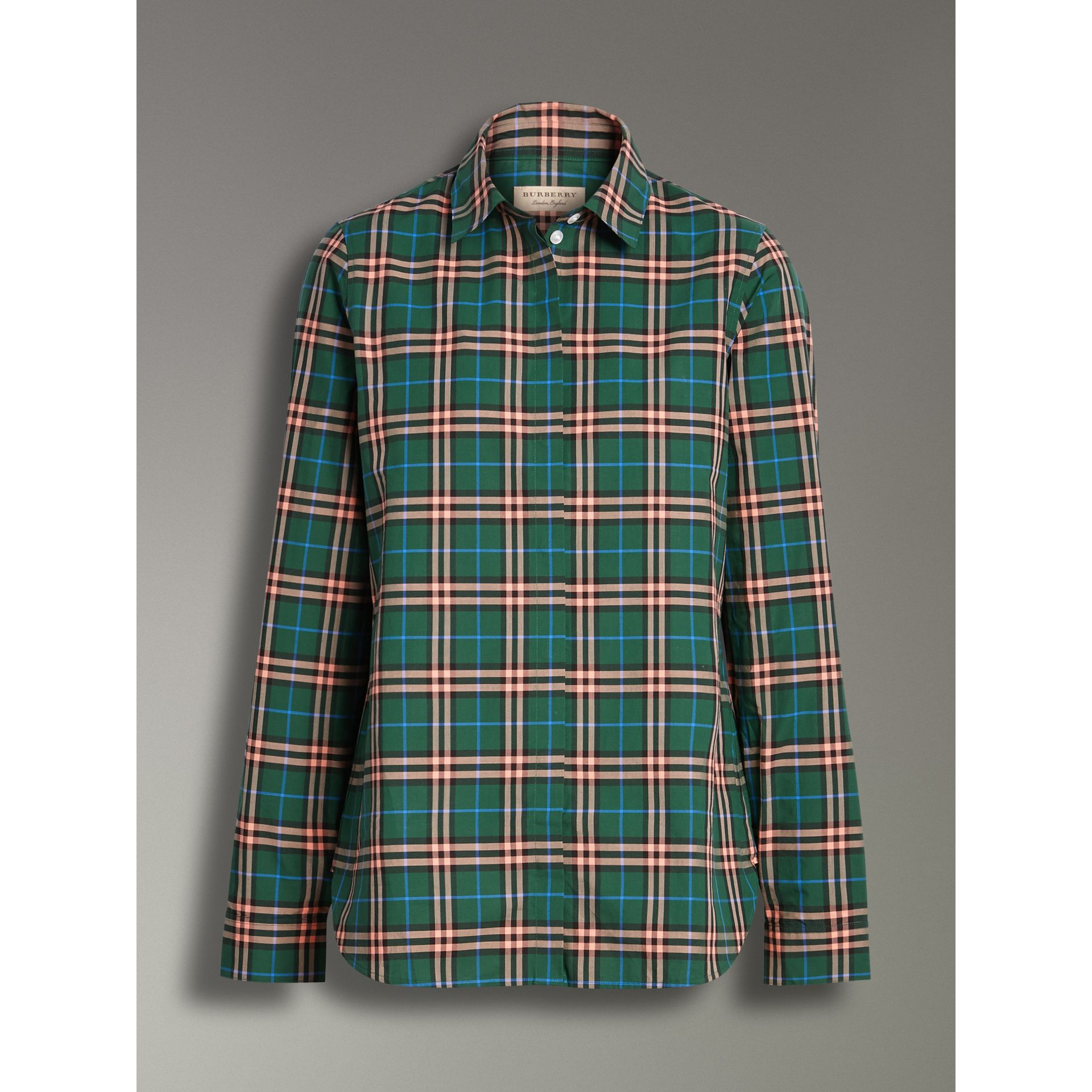 Check Cotton Shirt in Dark Forest Green - Women | Burberry - gallery image 3