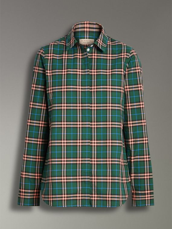 Check Cotton Shirt in Dark Forest Green - Women | Burberry - cell image 3