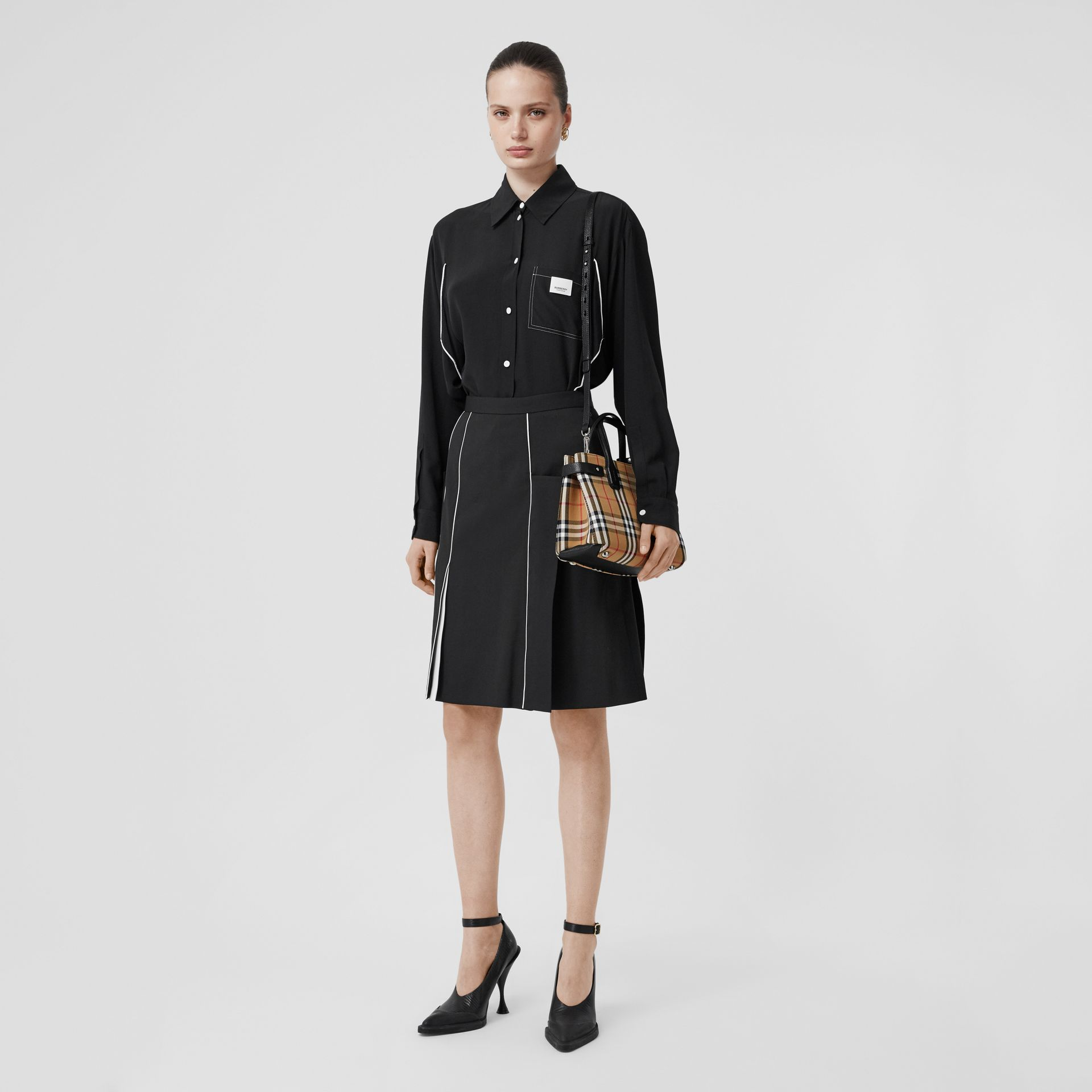 The Small Banner in Vintage Check and Leather in Black - Women | Burberry Canada - gallery image 6