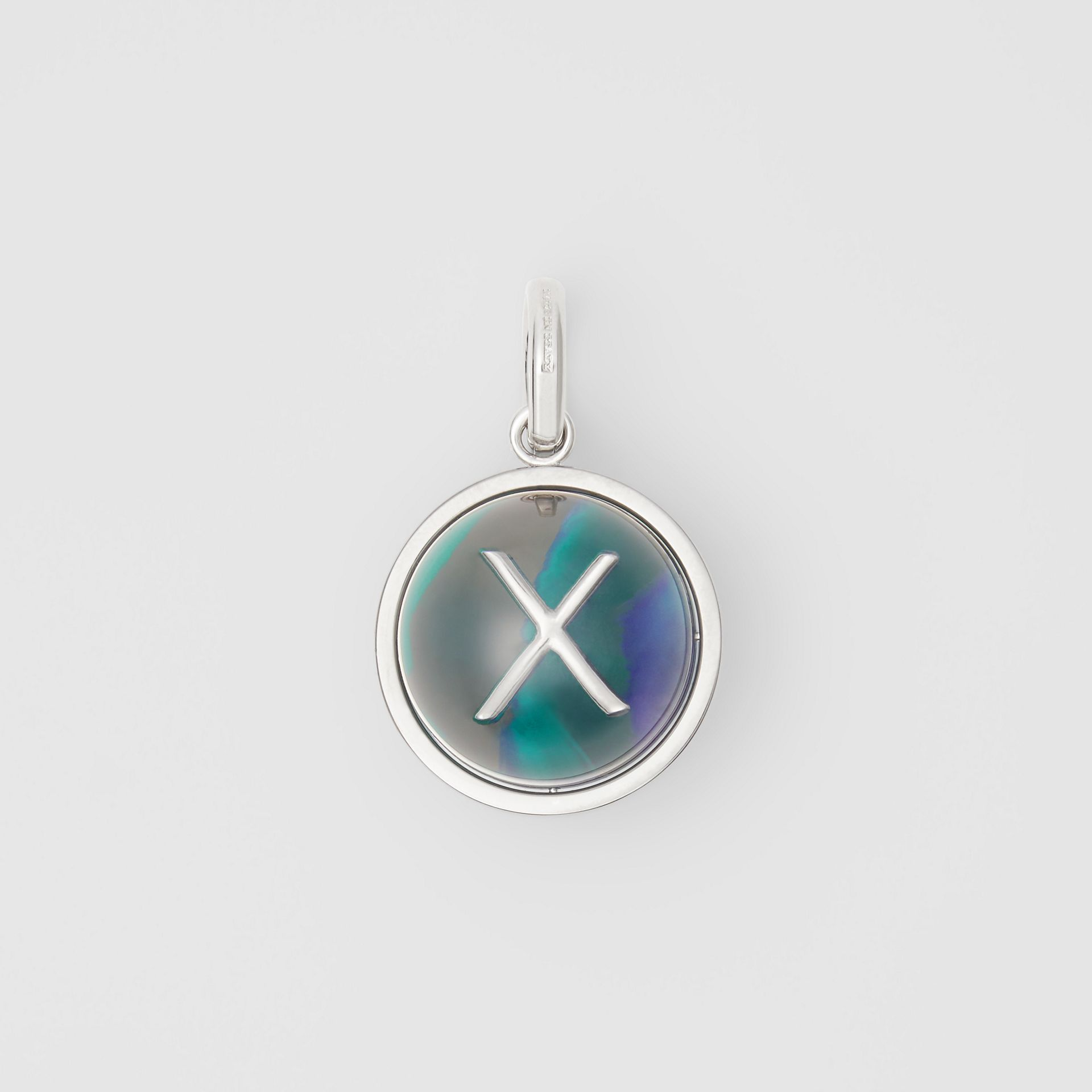 Marbled Resin 'X' Alphabet Charm in Palladio/ocean Blue - Women | Burberry - gallery image 0