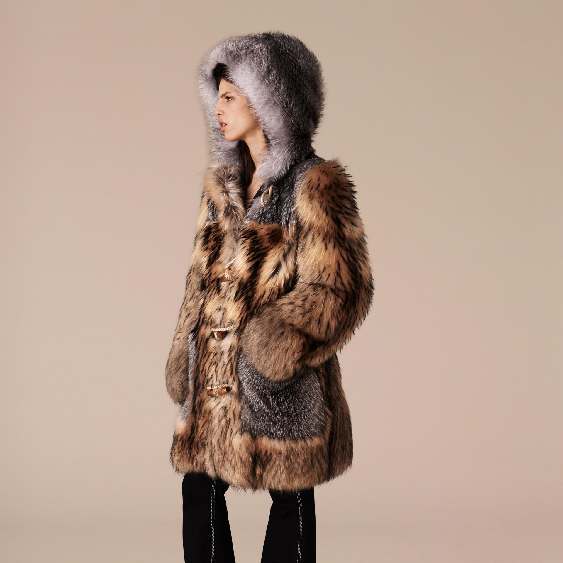 Camel Oversize Raccoon Duffle Coat - gallery image 4