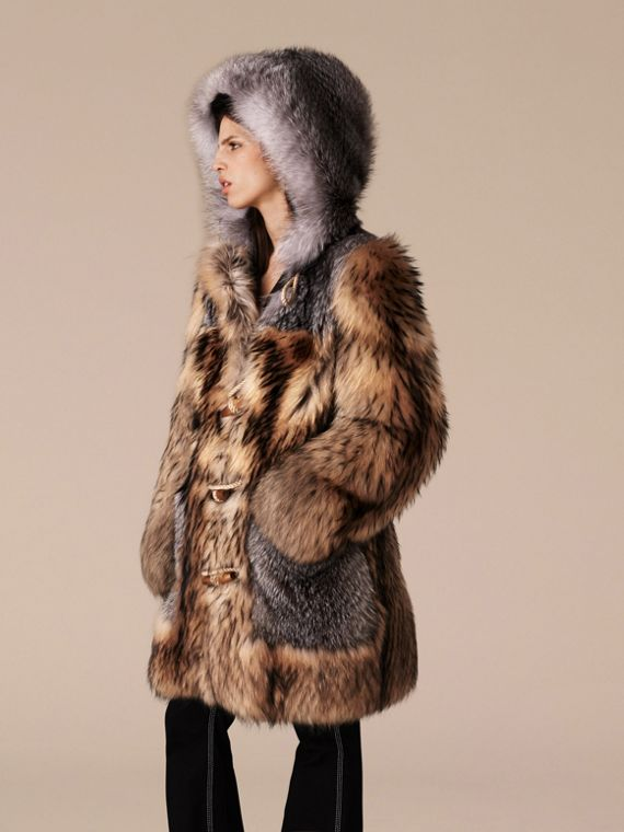 Camel Oversize Raccoon Duffle Coat - cell image 3