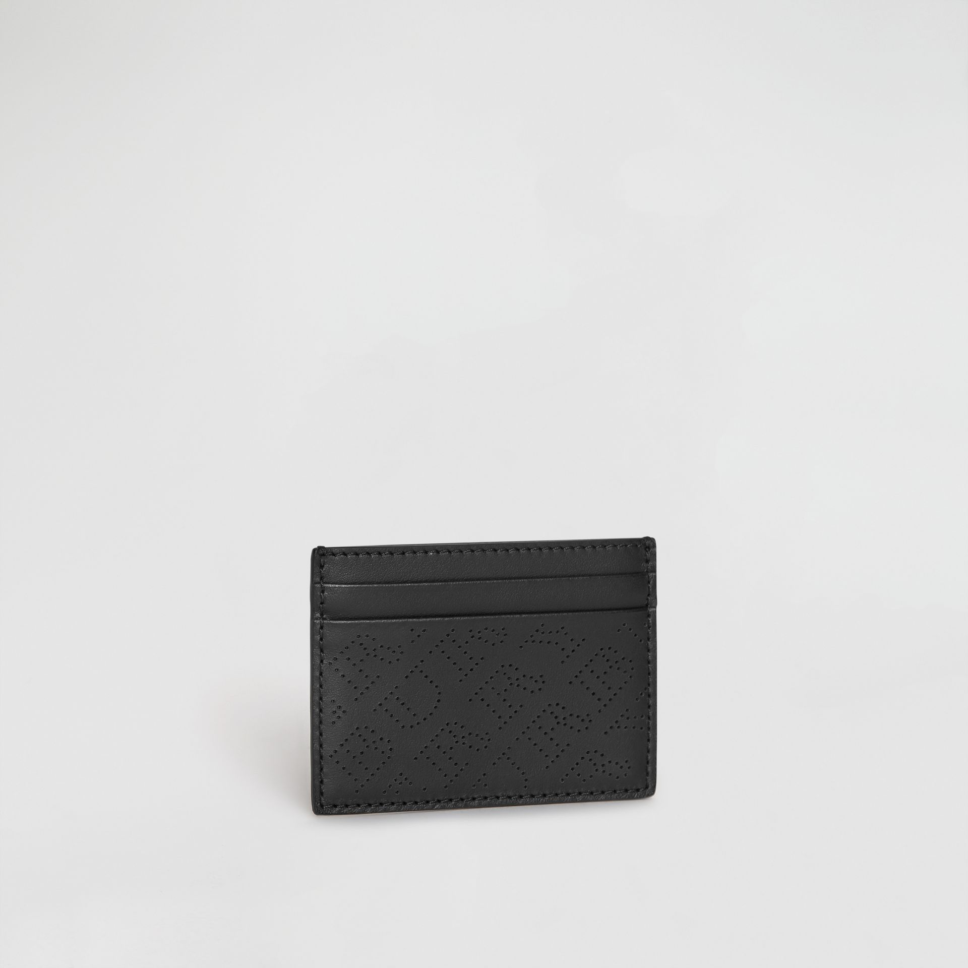 Perforated Logo Leather Card Case in Black - Women | Burberry - gallery image 3