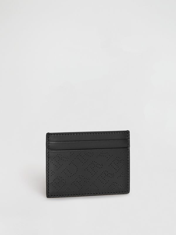 Perforated Logo Leather Card Case in Black - Women | Burberry - cell image 3