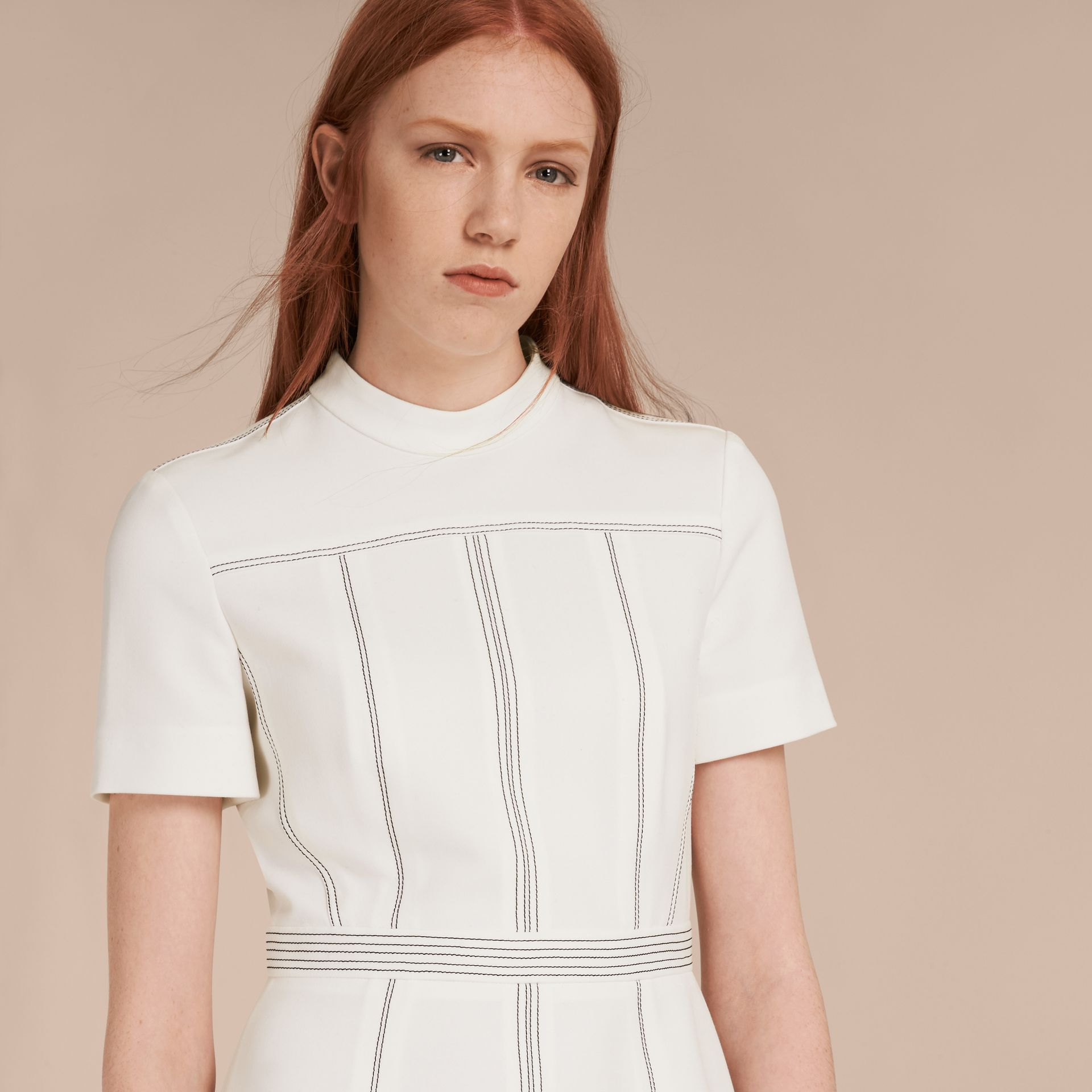 Natural white Topstitch Detail Shift Dress - gallery image 5