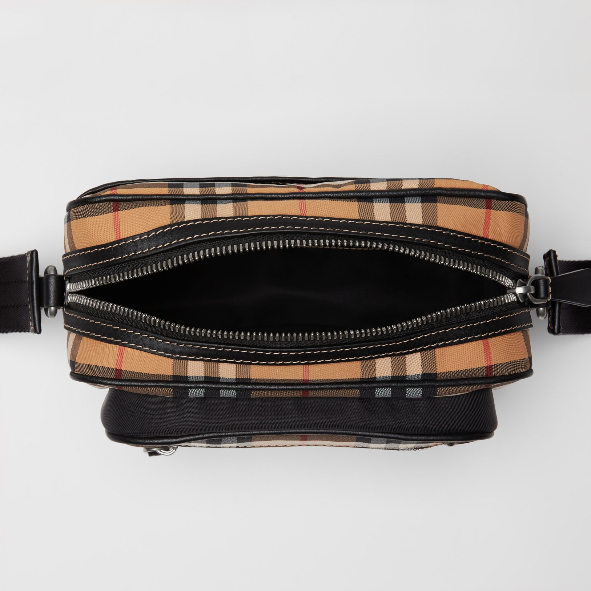 Vintage Check and Leather Crossbody Bag in Antique Yellow - Men | Burberry Singapore - gallery image 5