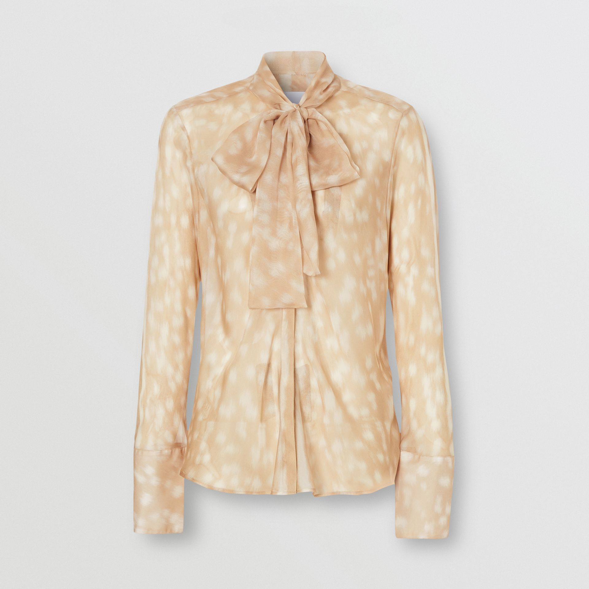 Deer Print Silk Chiffon Pussy-bow Blouse in Soft Fawn - Women | Burberry United Kingdom - gallery image 3