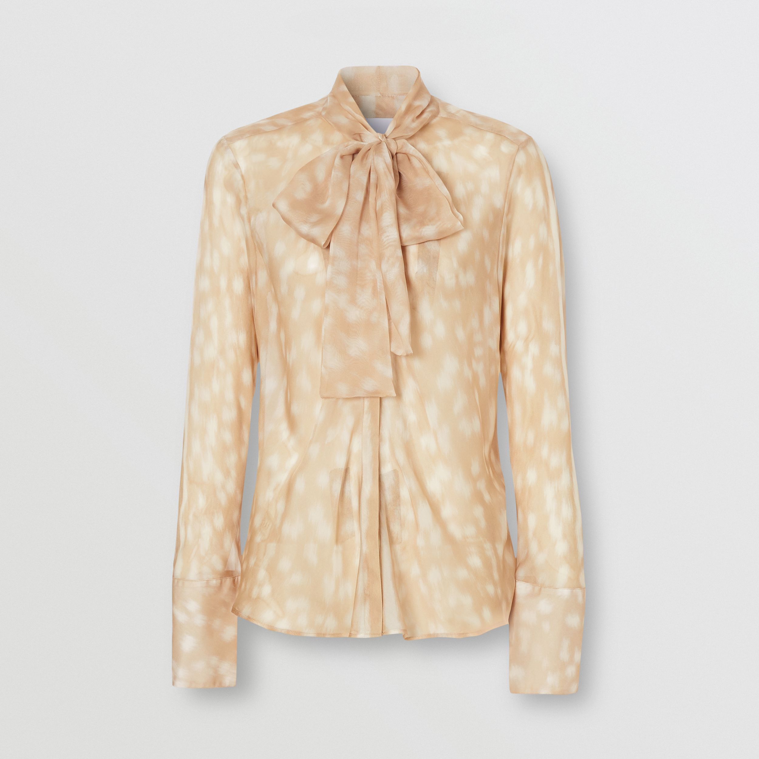 Deer Print Silk Chiffon Pussy-bow Blouse in Soft Fawn - Women | Burberry - 4