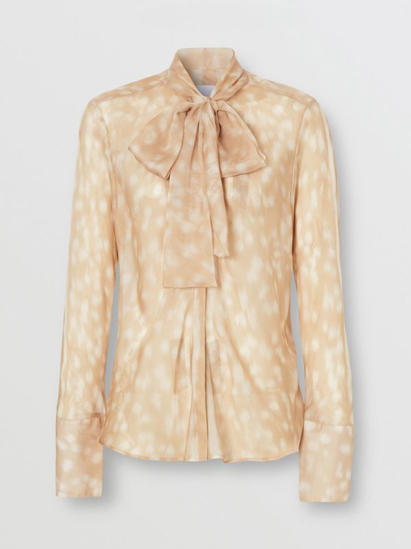 Deer Print Silk Chiffon Pussy-bow Blouse in Soft Fawn - Women | Burberry United Kingdom - cell image 3