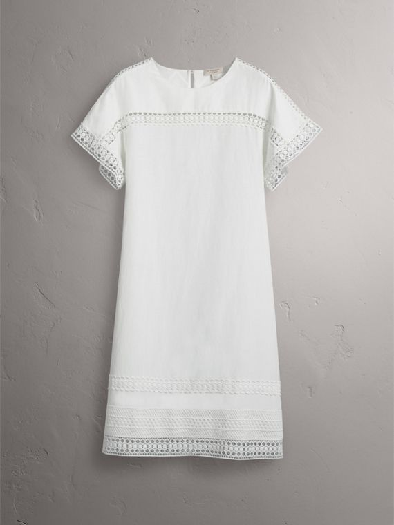 Macramé Lace Detail Silk Linen Cotton Dress - Women | Burberry - cell image 3