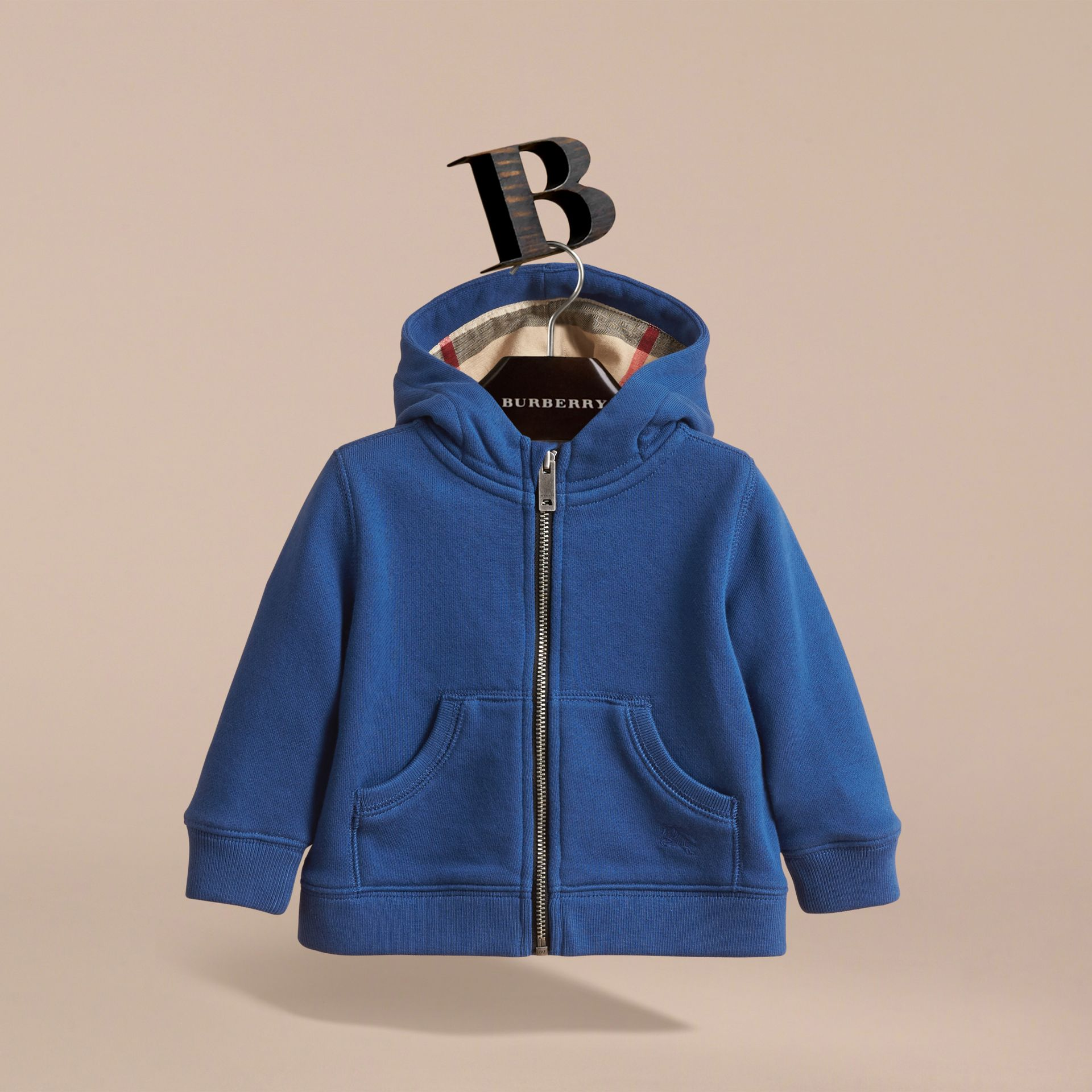 Check Detail Hooded Cotton Top in Marine Blue | Burberry - gallery image 3
