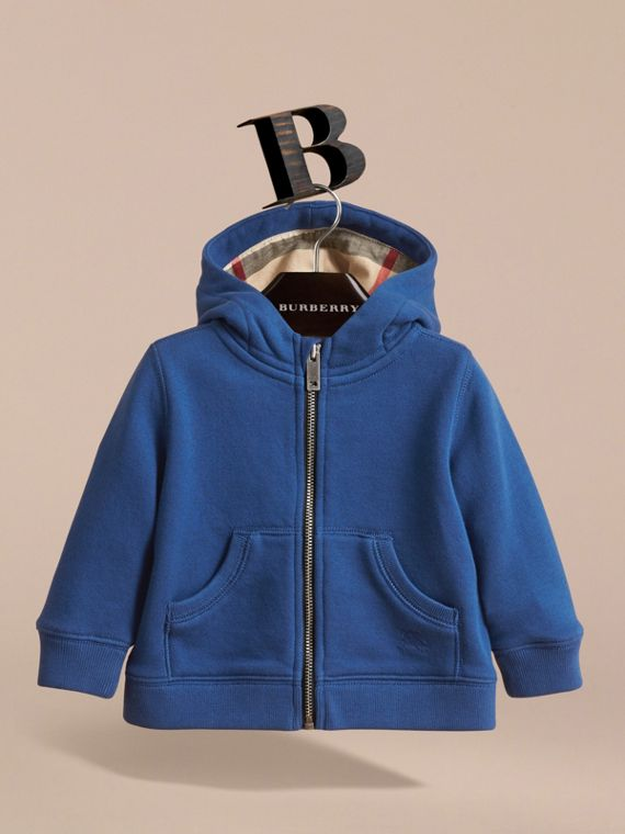 Check Detail Hooded Cotton Top in Marine Blue | Burberry Singapore - cell image 2