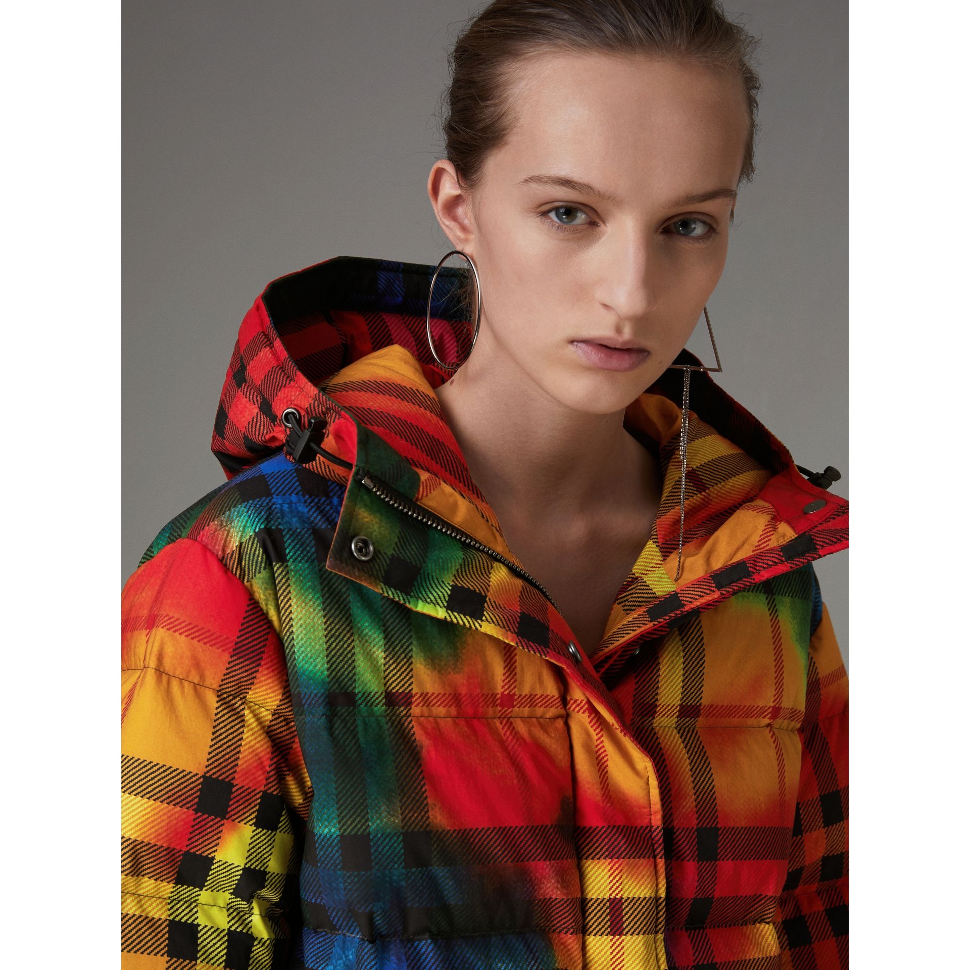 Tie-dye Print Vintage Check Puffer Jacket in Multicolour - Women | Burberry - gallery image 1