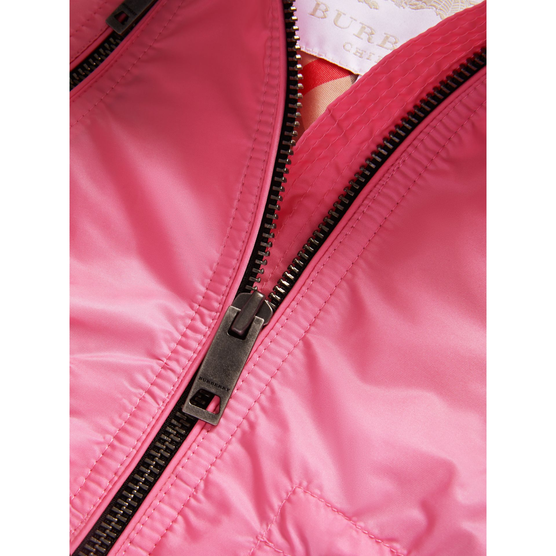 Hooded Packaway Technical Jacket in Peony - Girl | Burberry - gallery image 2