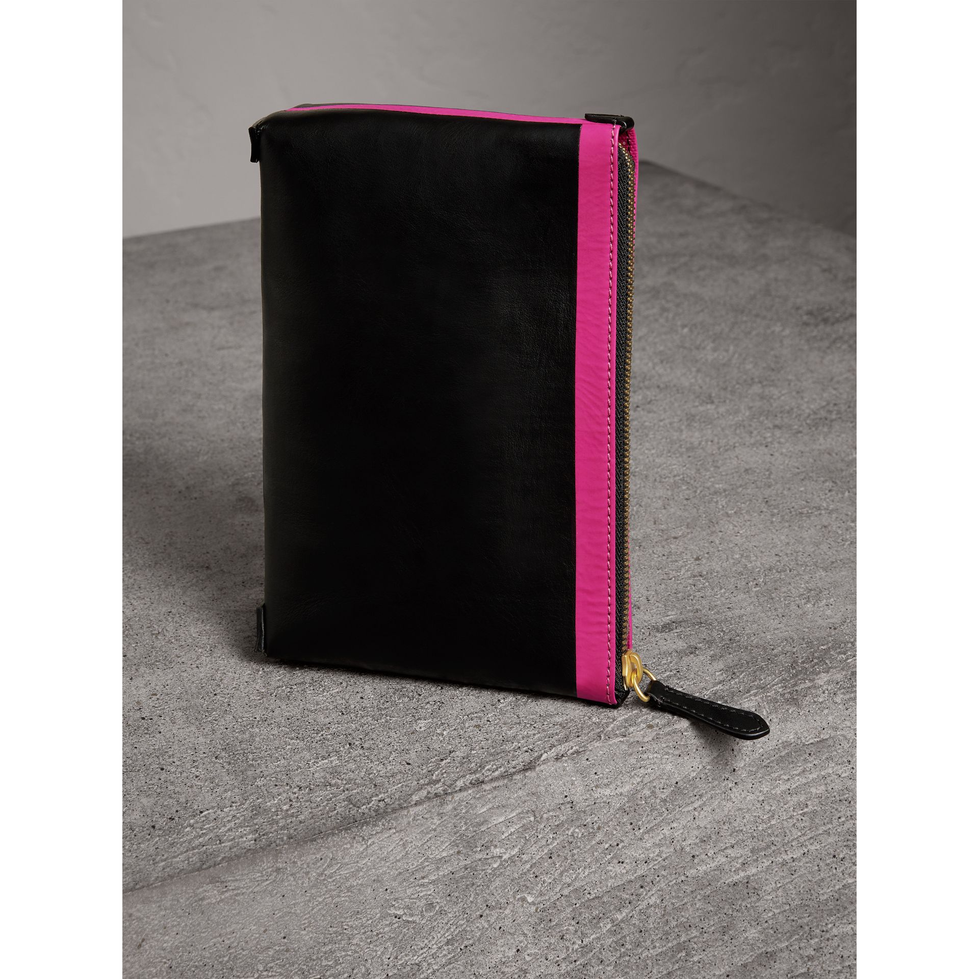 Bonded Leather Zip Pouch in Black/neon Pink - Women | Burberry United States - gallery image 4