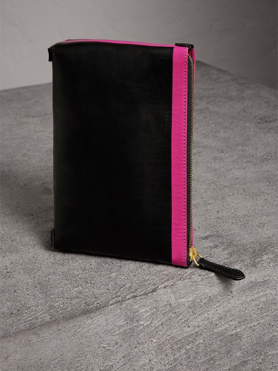 Bonded Leather Zip Pouch in Black/neon Pink - Women | Burberry - cell image 2