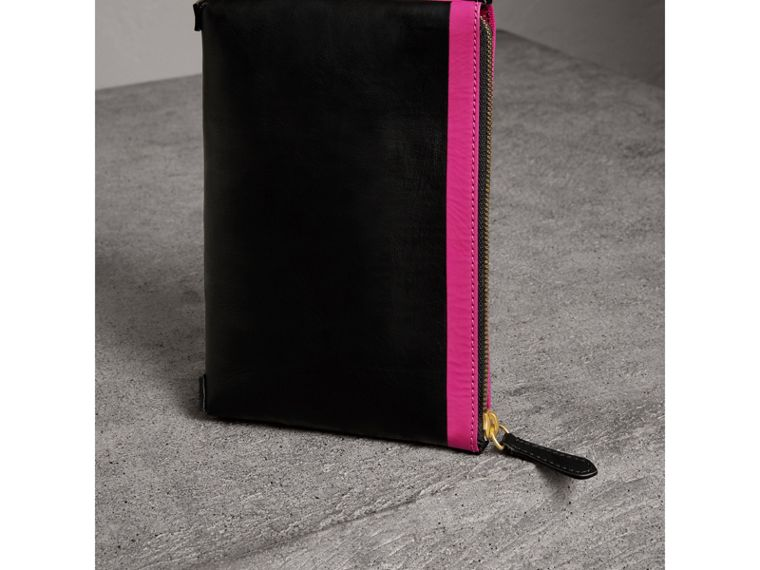 Bonded Leather Zip Pouch in Black/neon Pink - Women | Burberry United States - cell image 4