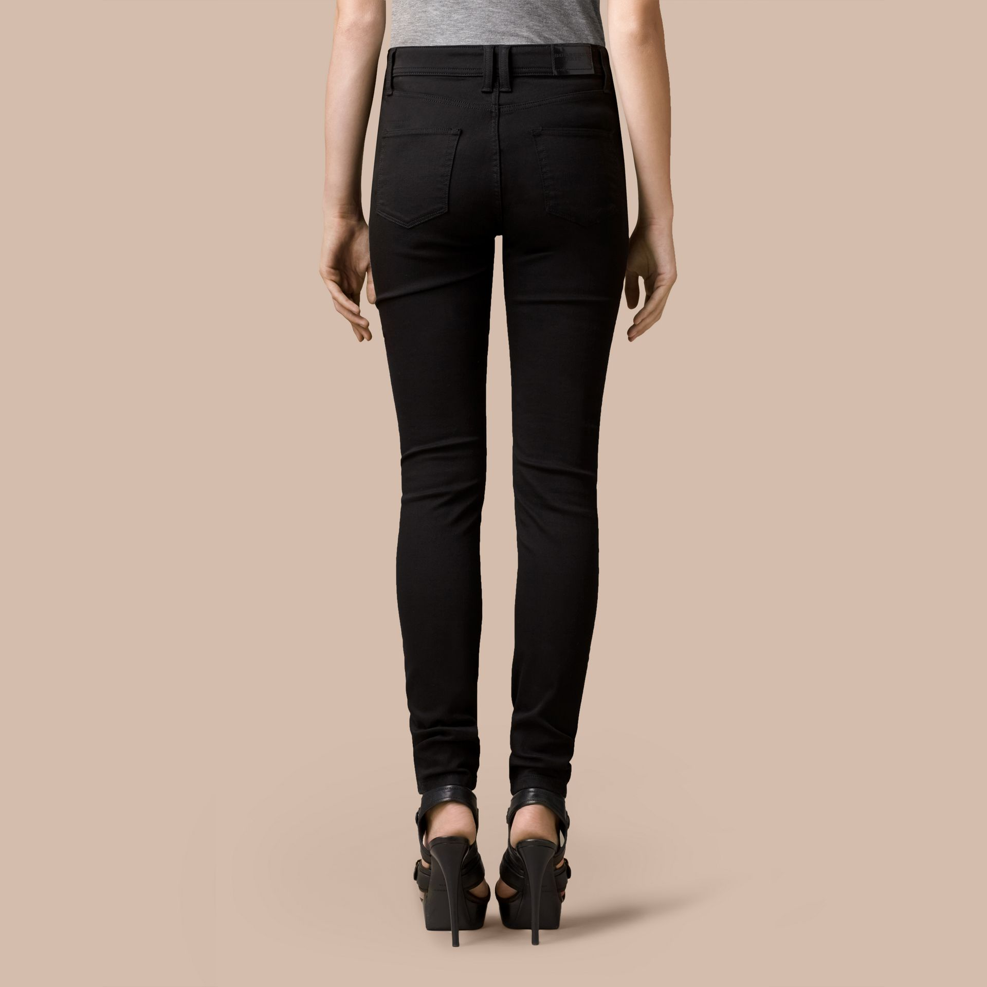 Skinny Fit High-Rise Deep Black Jeans - gallery image 3
