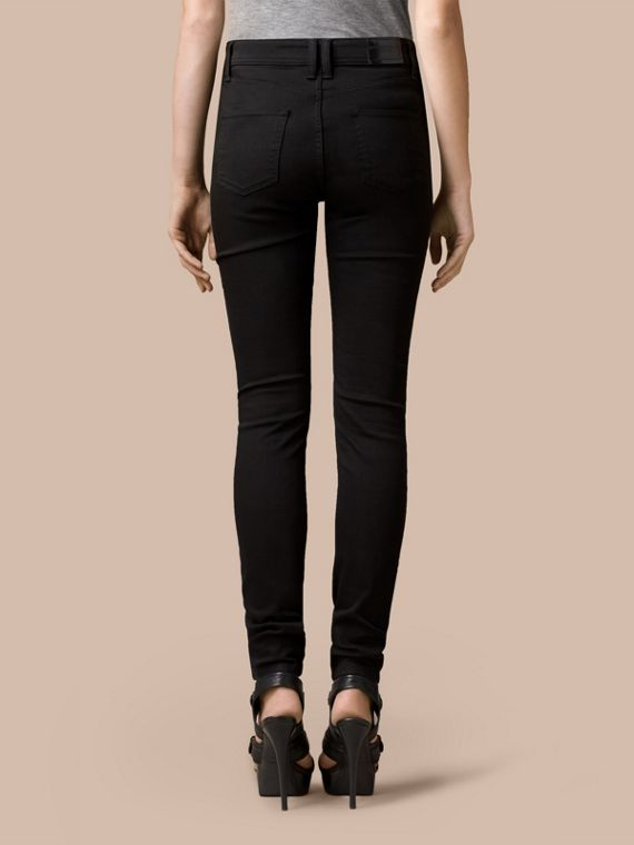 Black Skinny Fit High-Rise Deep Black Jeans - cell image 2