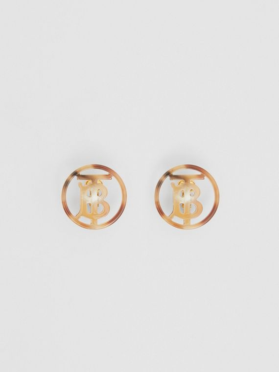 Resin and Gold-plated Monogram Motif Earrings in Light