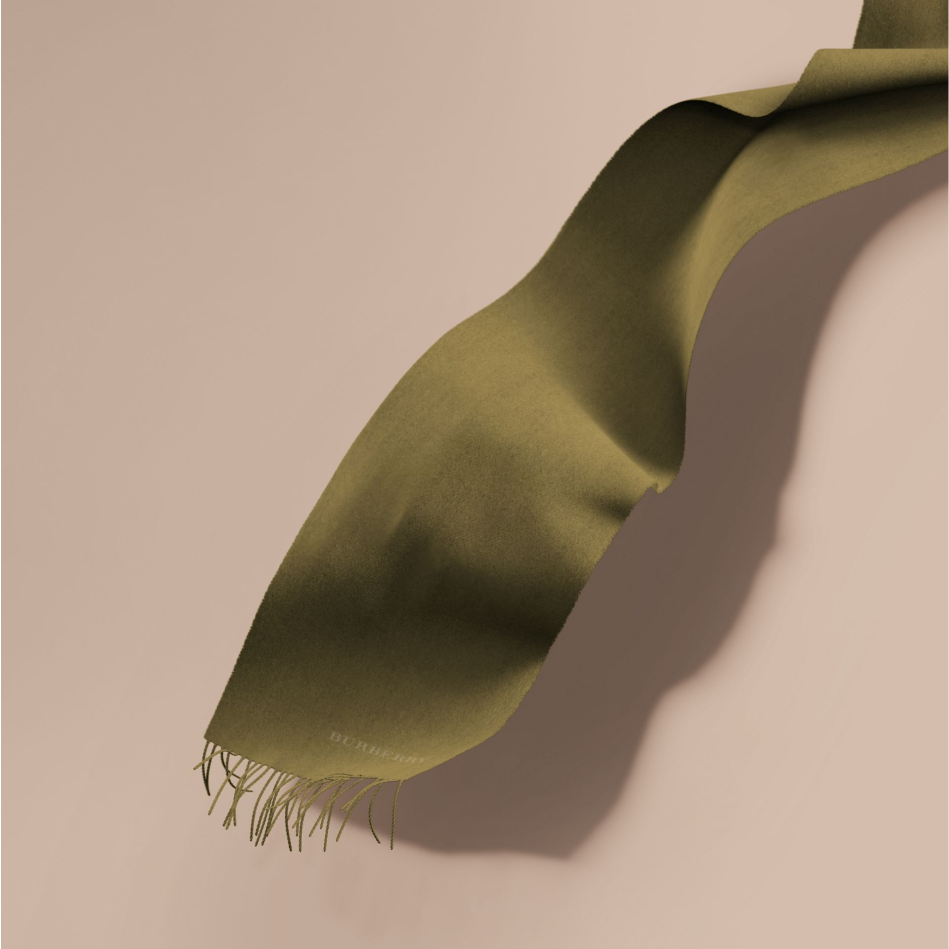 The Classic Cashmere Scarf in Olive Green | Burberry - gallery image 1