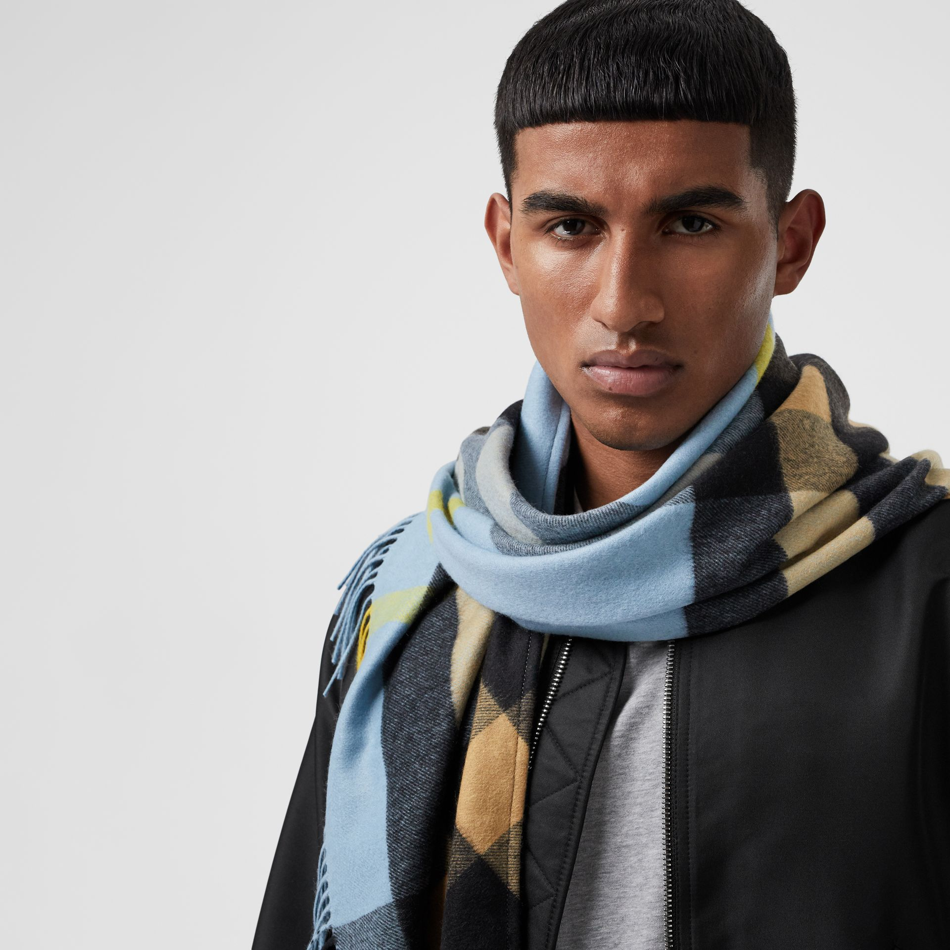 The Burberry Bandana in Check Cashmere in Pale Carbon Blue | Burberry Singapore - gallery image 6