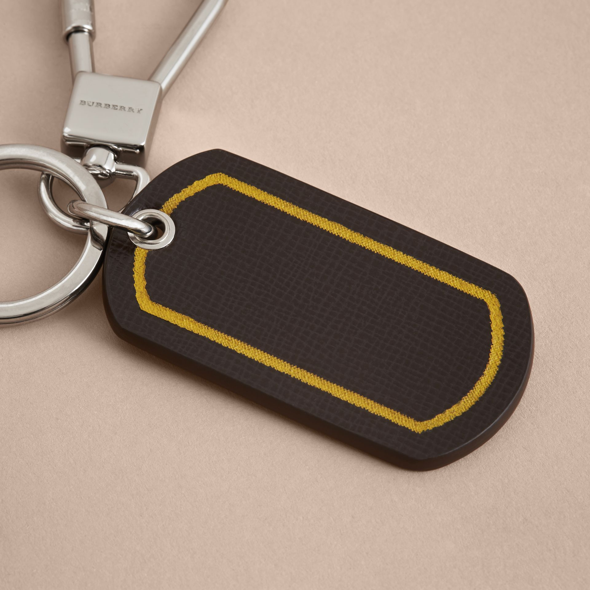 Border Detail London Leather Key Charm - gallery image 5