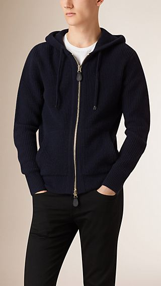 Check Detail Ribbed Wool Cashmere Hooded Top
