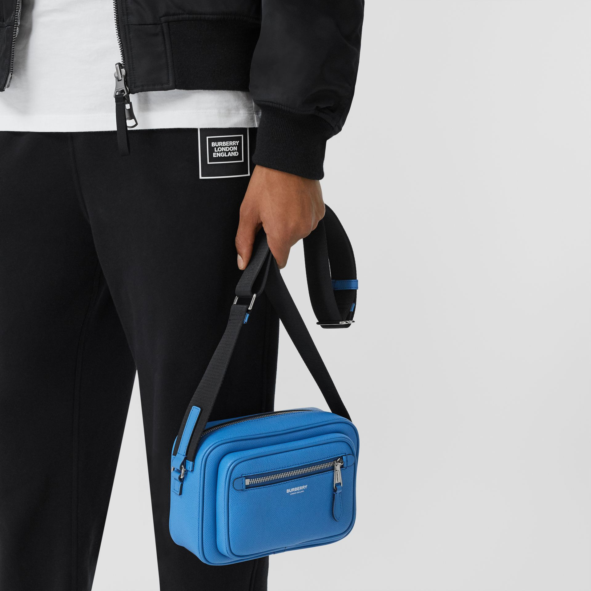 Grainy Leather Crossbody Bag in True Blue - Men | Burberry - gallery image 2