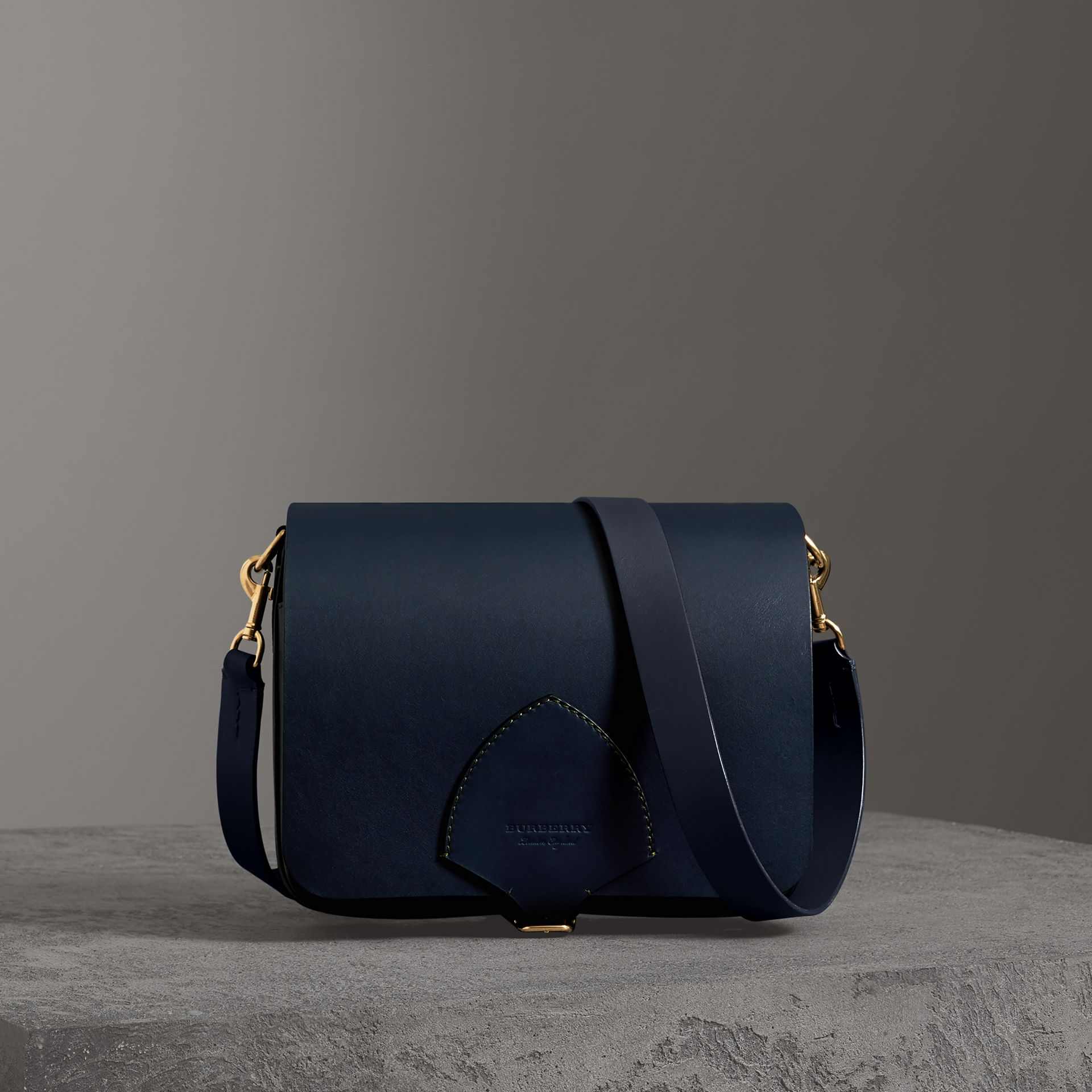 The Large Square Satchel in Leather in Mid Indigo - Women | Burberry - gallery image 0