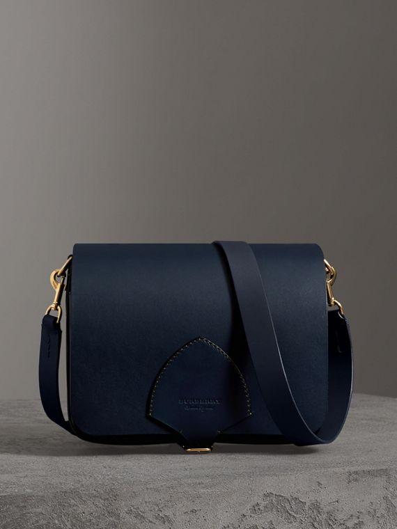 The Large Square Satchel in Leather in Mid Indigo