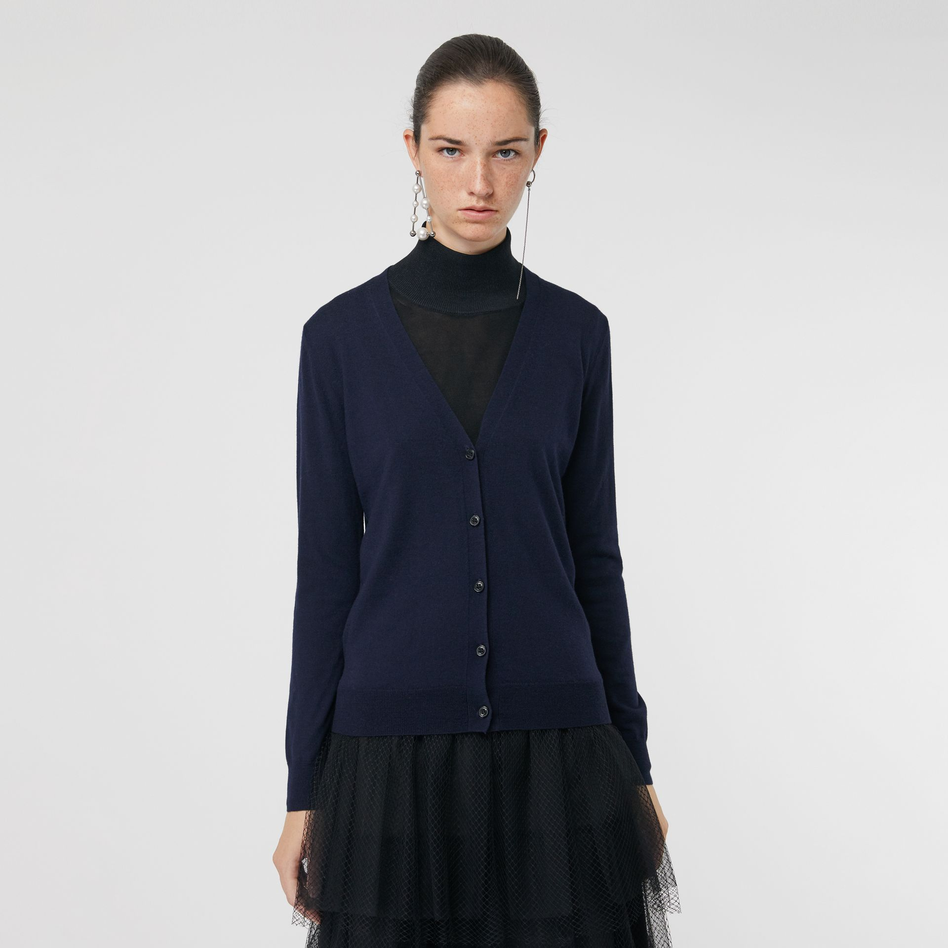 Check Detail Merino Wool Cardigan in Navy - Women | Burberry Australia - gallery image 4
