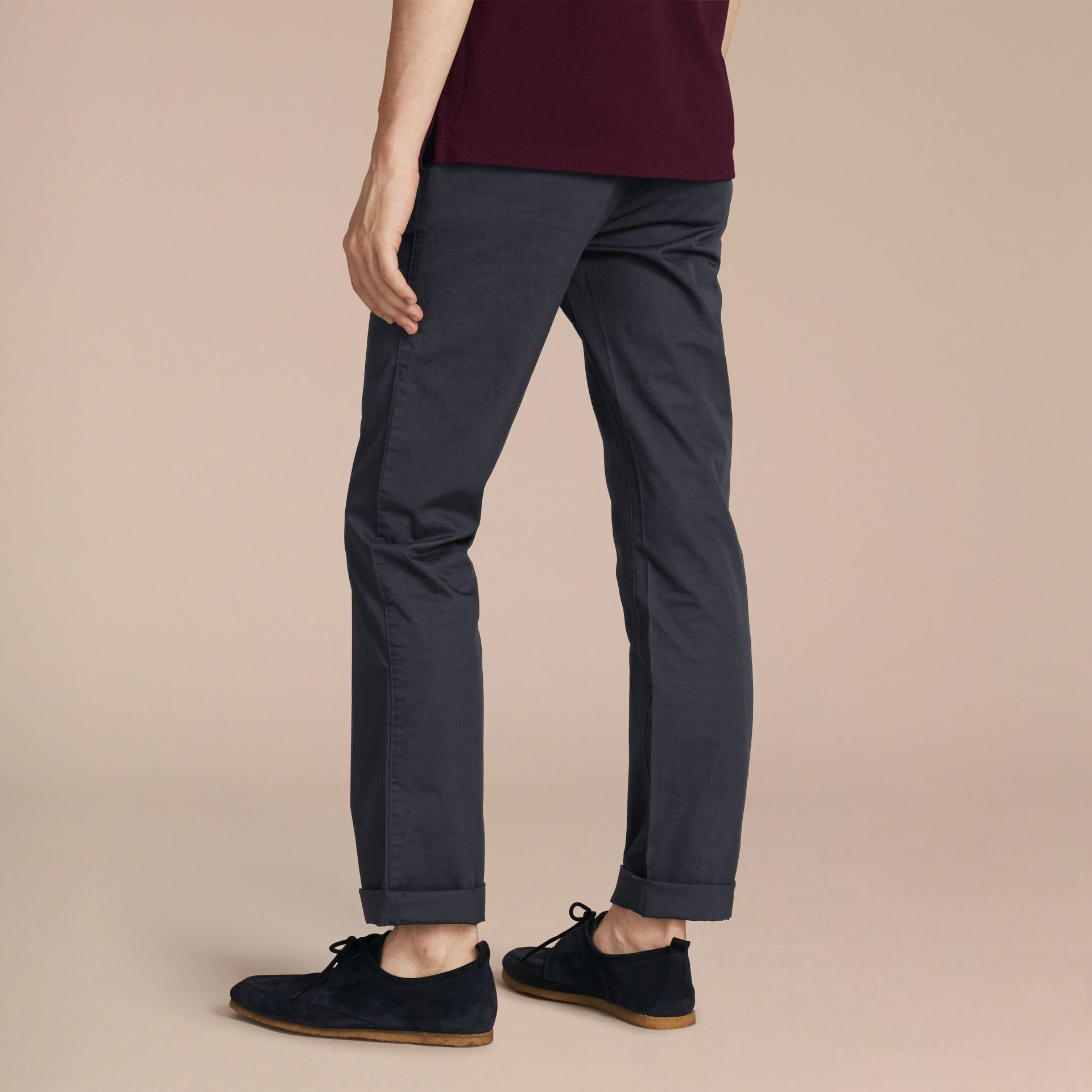 Straight Fit Cotton Chinos in Ink - Men | Burberry Singapore - gallery image 3