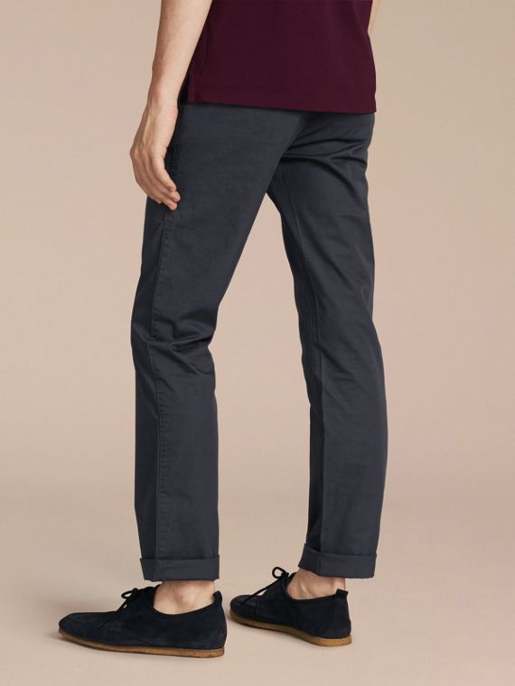Straight Fit Cotton Chinos in Ink - cell image 2