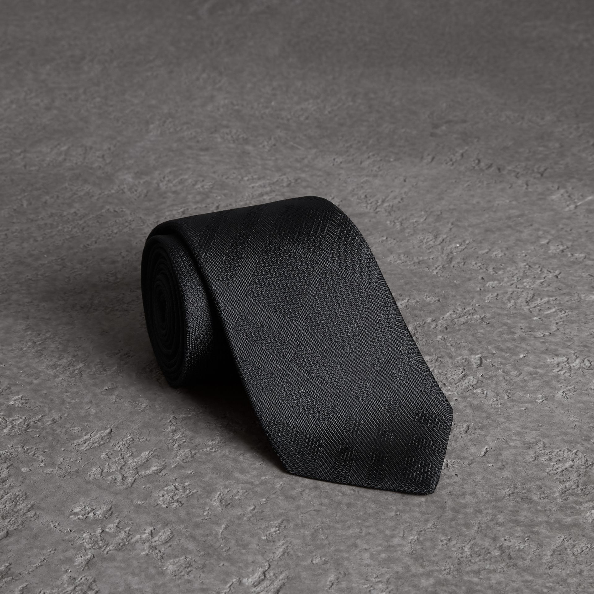 Classic Cut Check Silk Jacquard Tie in Black - Men | Burberry United States - gallery image 0