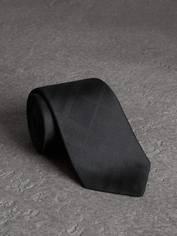 Classic Cut Check Silk Jacquard Tie in Black