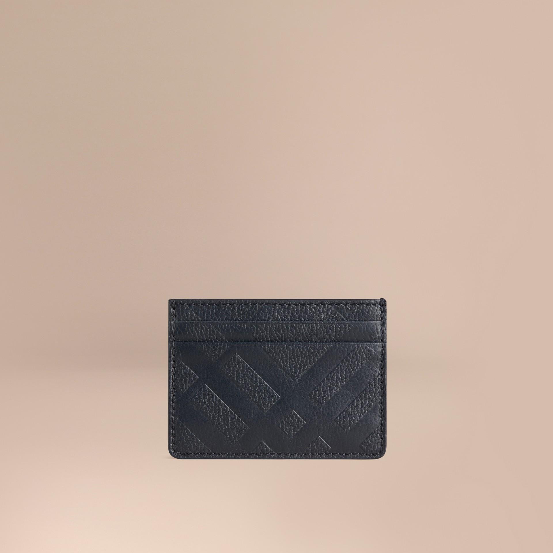 Bleu étain sombre Porte-cartes en cuir à motif check estampé Bleu Étain Sombre - photo de la galerie 1