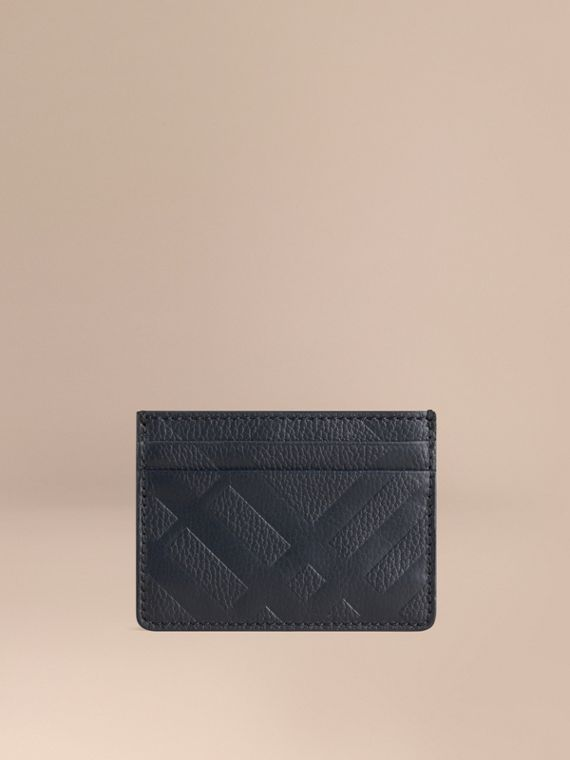 Embossed Check Leather Card Case Dark Pewter Blue