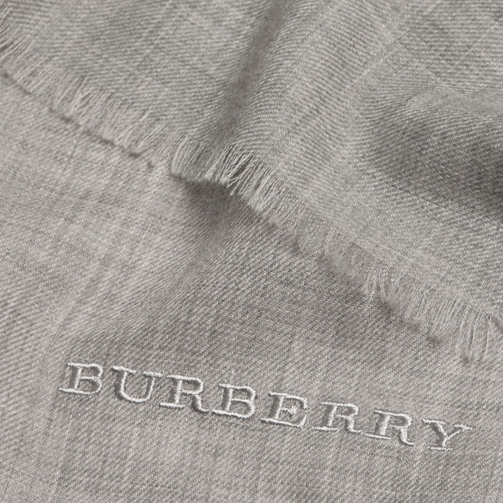 The Lightweight Cashmere Scarf in Pale Grey | Burberry - gallery image 5