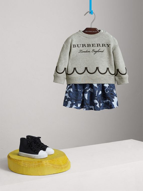 Scallop Detail Cotton Jersey Sweatshirt | Burberry