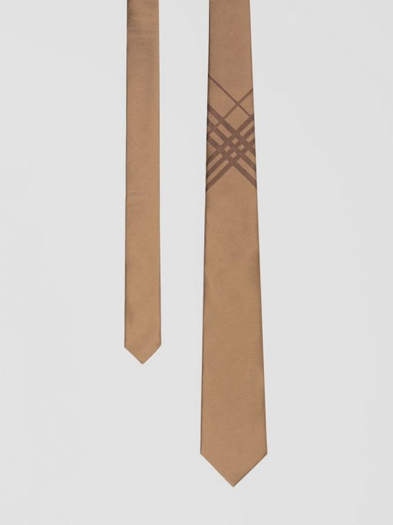 Classic Cut Check Silk Jacquard Tie in Caramel